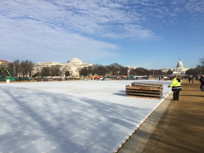 Workers getting the Mall ready for the Inauguration